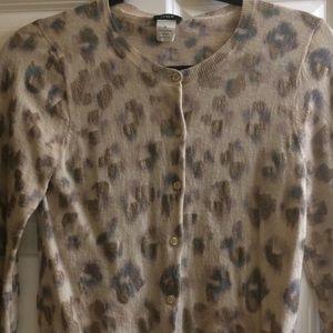 JCrew Bronzed Leopard Cardigan